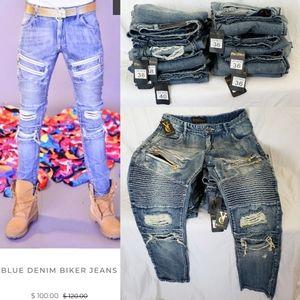 Veyron Calanari Blue Denim Biker Jeans
